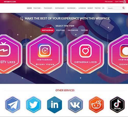 طراحی وب سایت خدمات اینستاگرام به زبان انگلیسی
